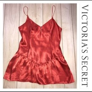 Victoria's Secret Orange Gold Label Satin Chemise